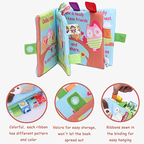 4 Types Fabric Book Set Soft Cloth Activity Crinkle Non-Toxic Early Education Fo
